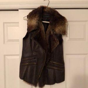 Brown Leather/Fur Vest